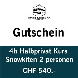Snowkite semiprivate course 2 people / 4 hours voucher
