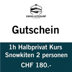Snowkite semiprivate course 2 people / 1 hour voucher